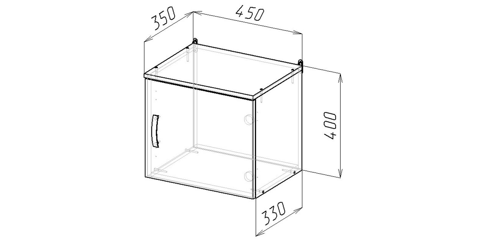 Шкаф навесной Хельга антресоль 45 см (дуб сонома) от HomeMe.ru