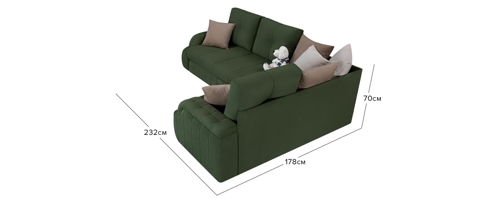 Диван тканевый угловой Николь Max зеленый (Велюр)