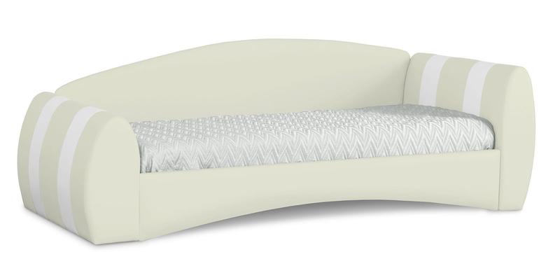 Мягкая кровать 190х90 Монако угол правый (молочный/белый)