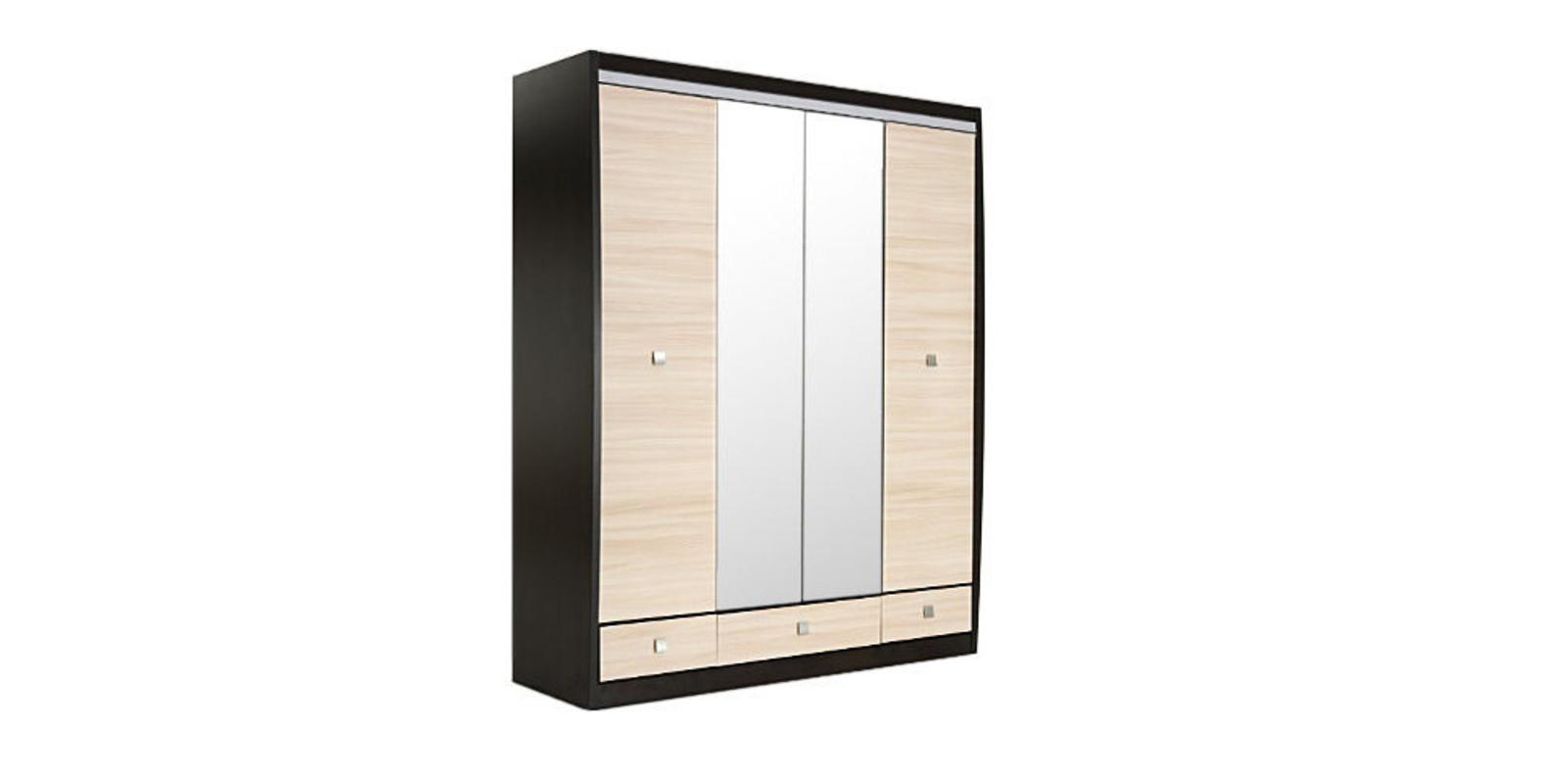 Шкаф распашной 4-х дверный Корсика (ясень глянец+зеркало/дуб феррара)