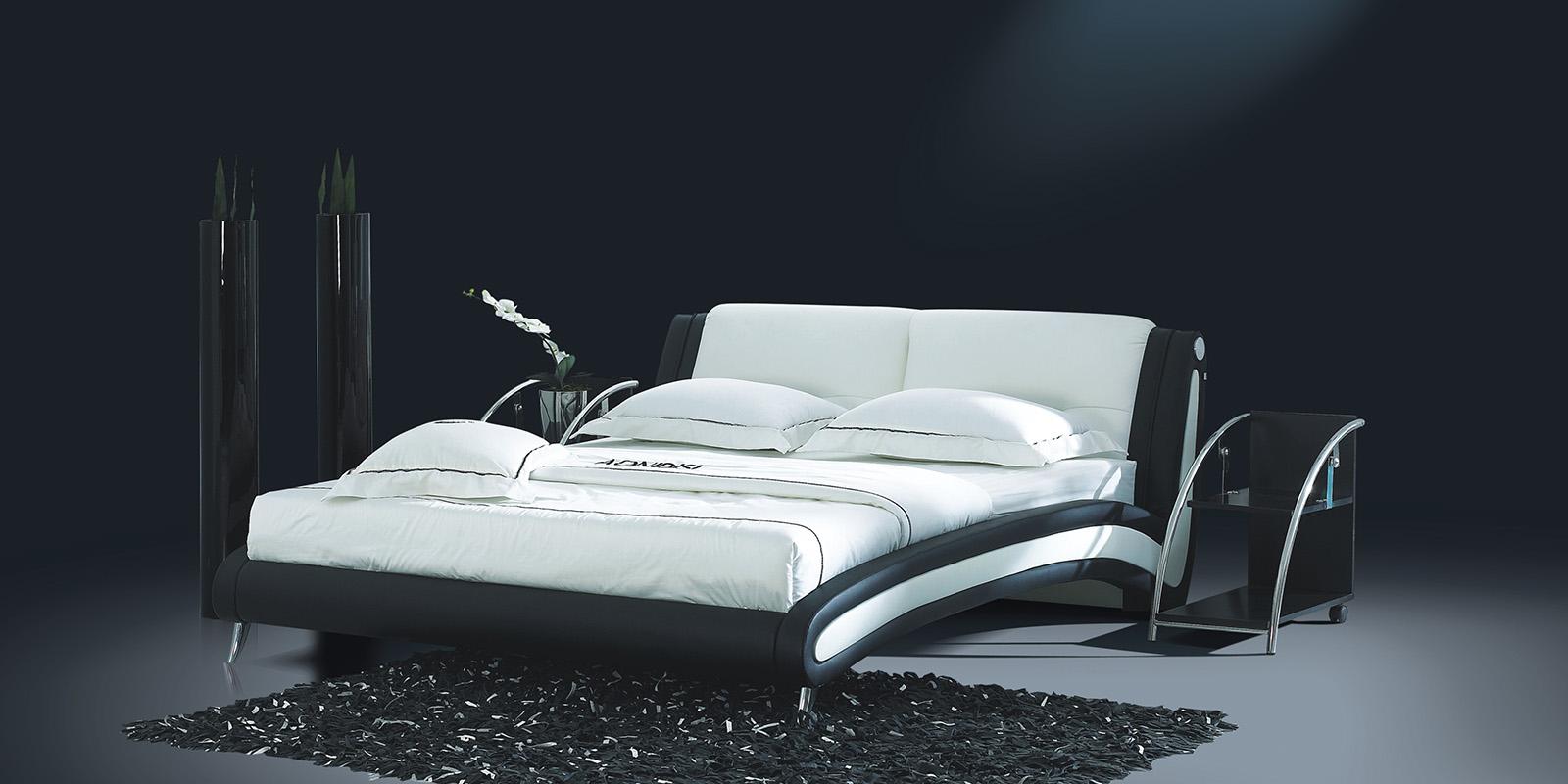 Мягкая кровать 200х140 AY-959 с ортопедическим основанием (черно-белый)