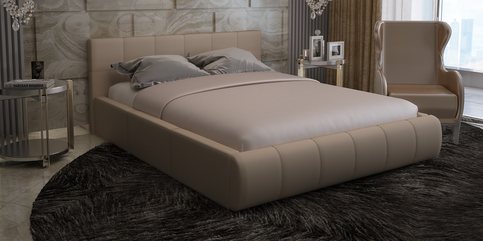 Кровать мягкая 200х140 Афина с подъемным механизмом (Velure бежевый)