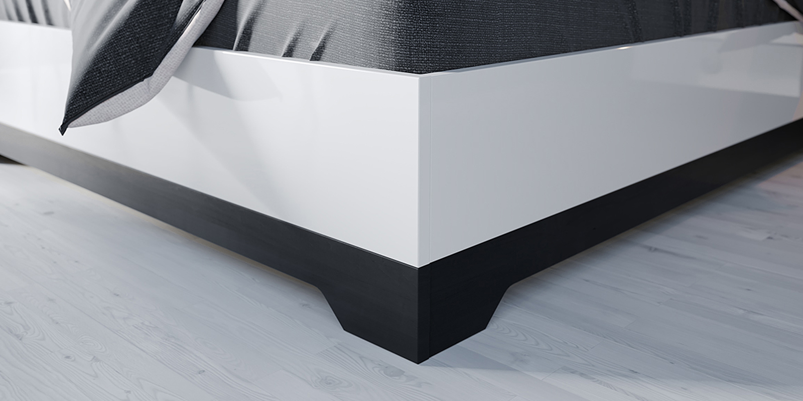 Кровать каркасная 200х160 Париж без подъемного механизма (черный/белый)