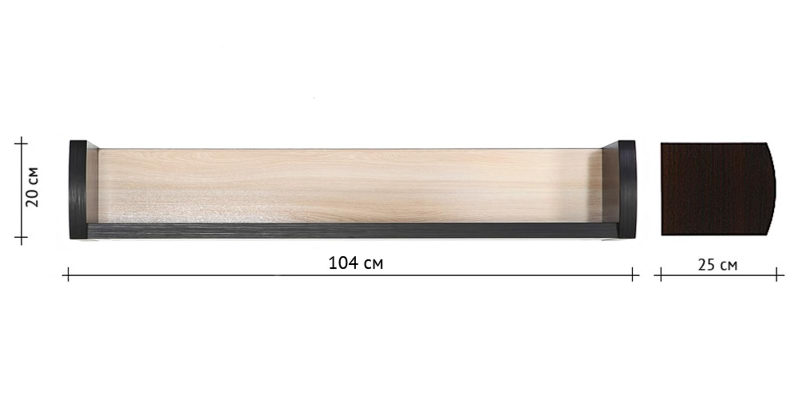 Полка Корсика 104/20 см (ясень глянец) от HomeMe.ru