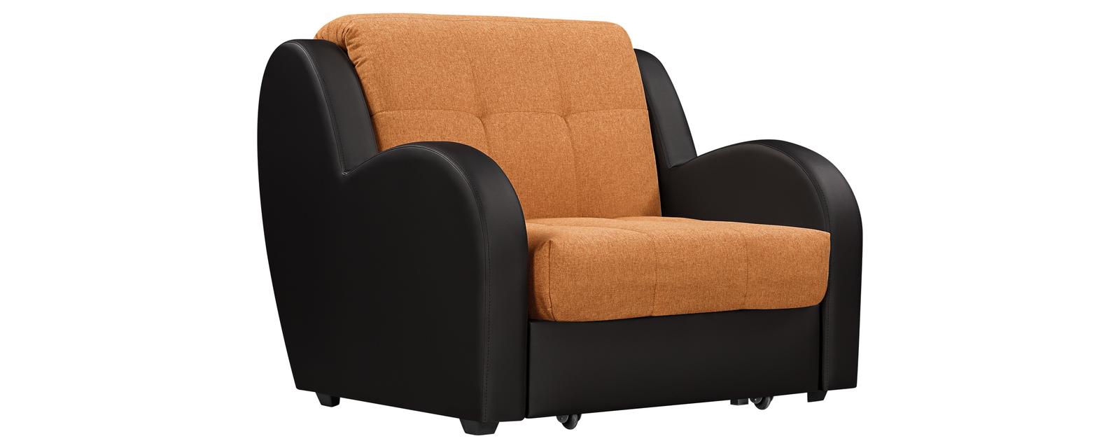 Кресло тканевое Барон Kiton оранжевый (Рогожка + Экокожа)