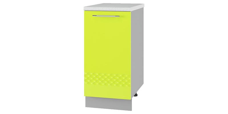 Кухонный напольный шкаф Тиара 40 см вариант №1 (серый/лайм глянец, левый)