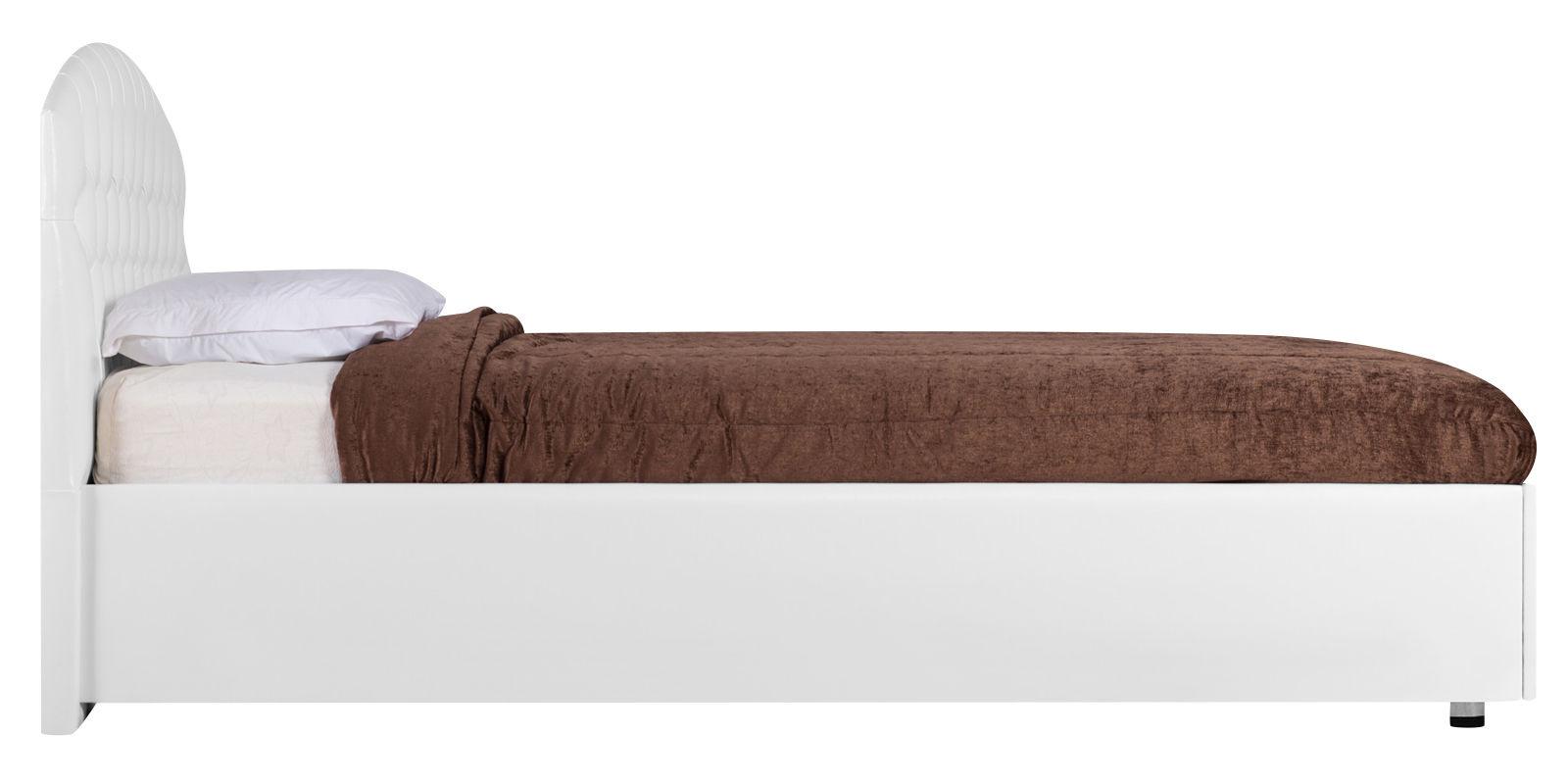 Мягкая кровать 200х160 Малибу вариант №1 с подъемным механизмом (белый)