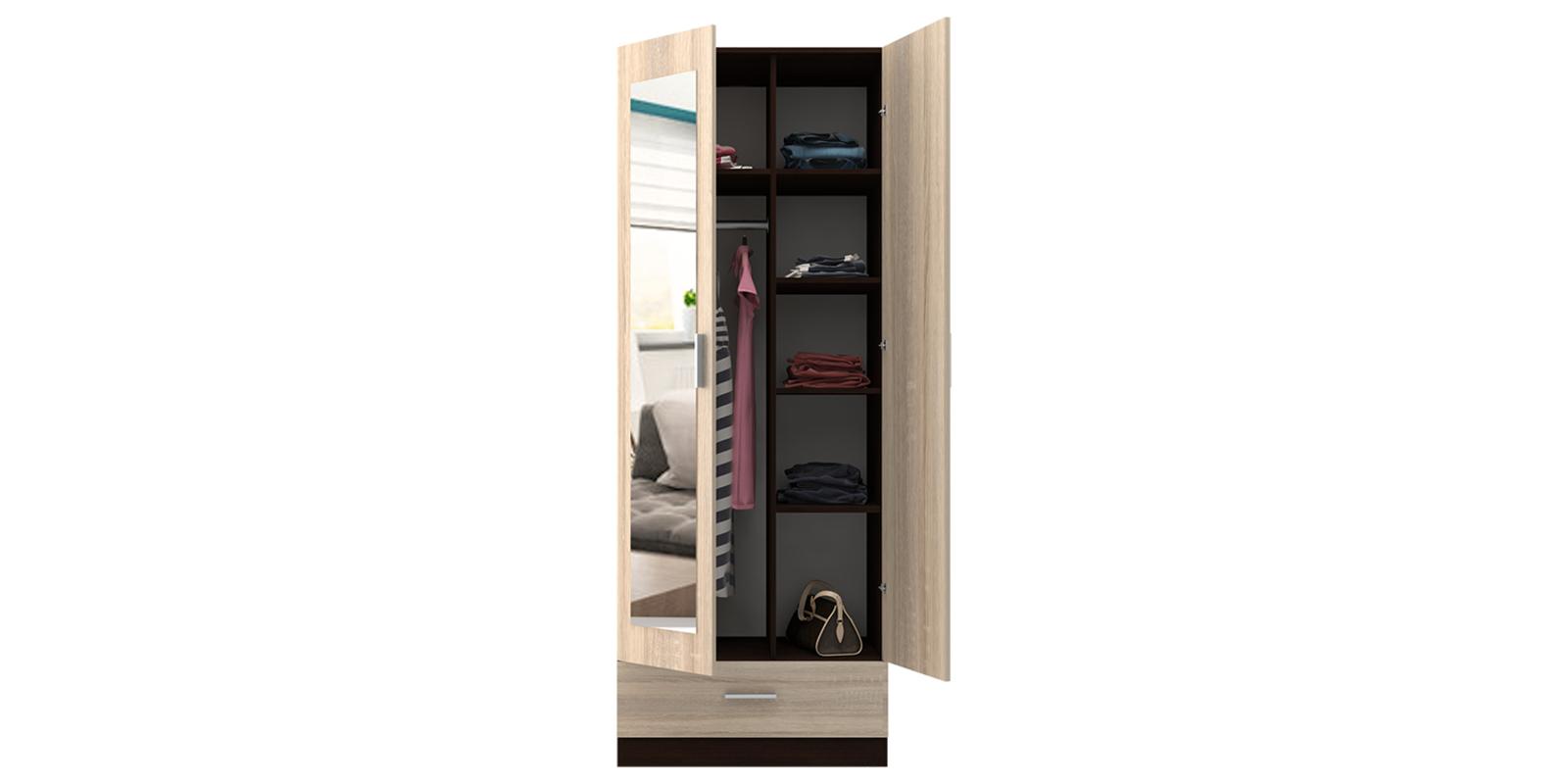 Шкаф распашной двухдверный Мельбурн (дуб феррара/дуб сонома+зеркало) от HomeMe.ru