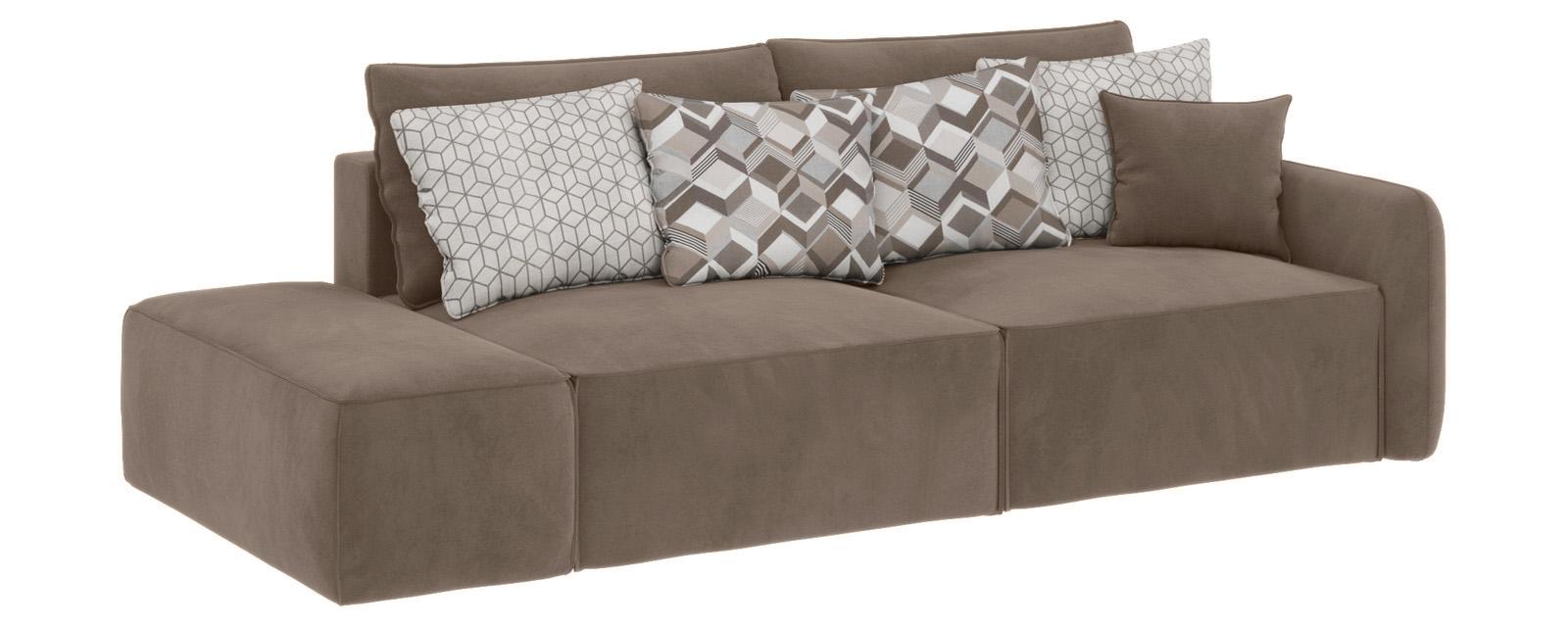 Модульный диван Портленд вариант №2 Soft темно-бежевый (Вел-флок, правый)