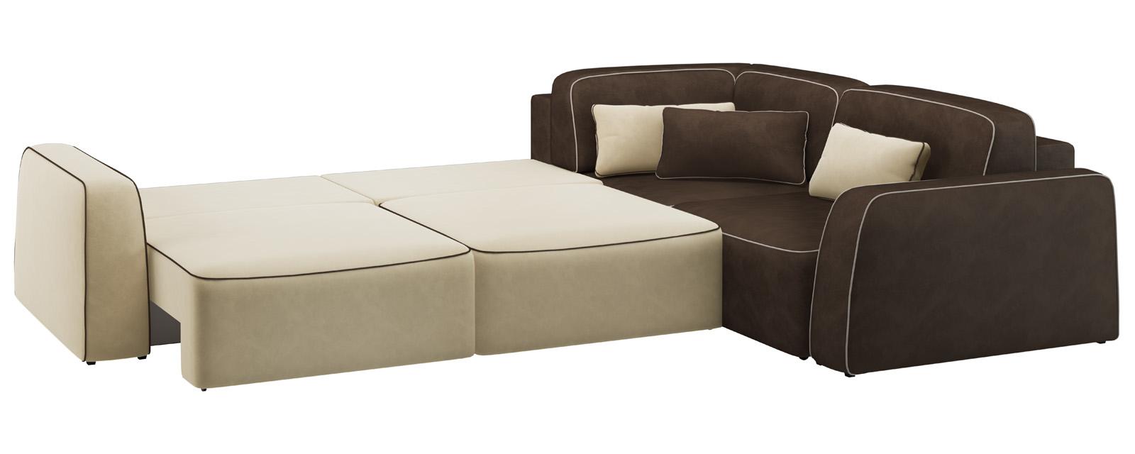 Модульный диван Портленд 350 см Вариант №4 Velure бежевый/темно-коричневый (Велюр) от HomeMe.ru