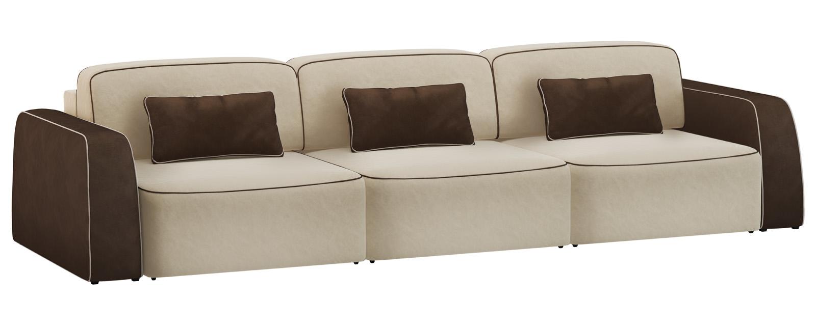 Модульный диван Портленд 300 см Вариант №1 Velure бежевый/темно-коричневый (Велюр) от HomeMe.ru