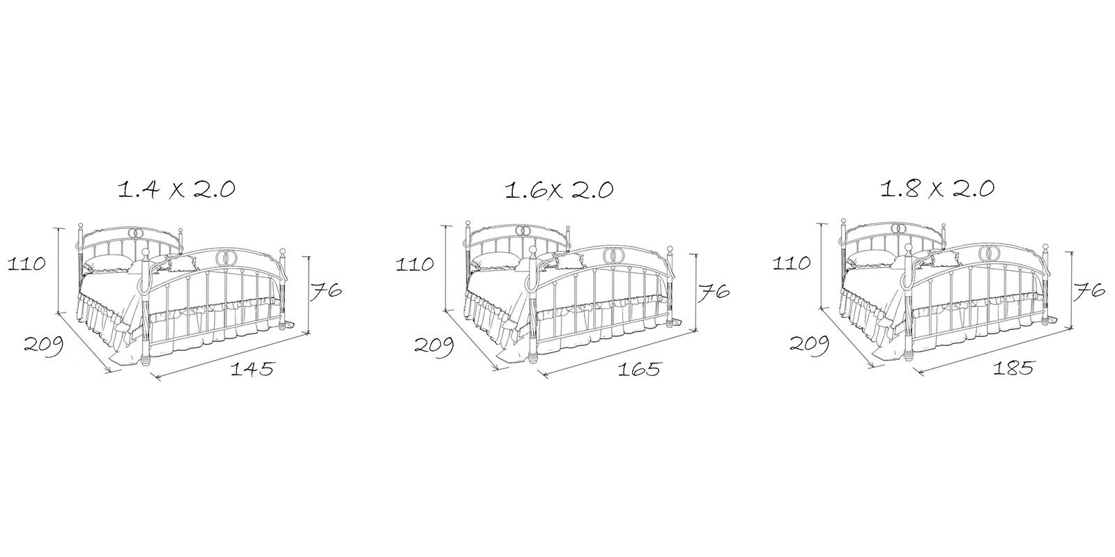 Металлическая кровать 160х200 Валенсия с ортопедическим основанием (белый с золотом) S004/2-6