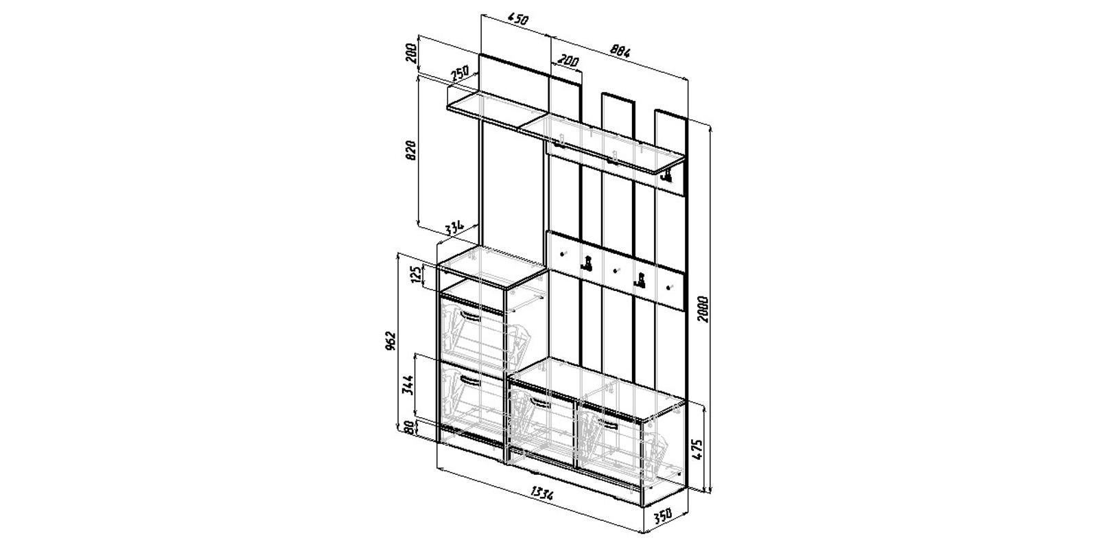 Модульная система Хельга вариант №2 (венге/дуб молочный)