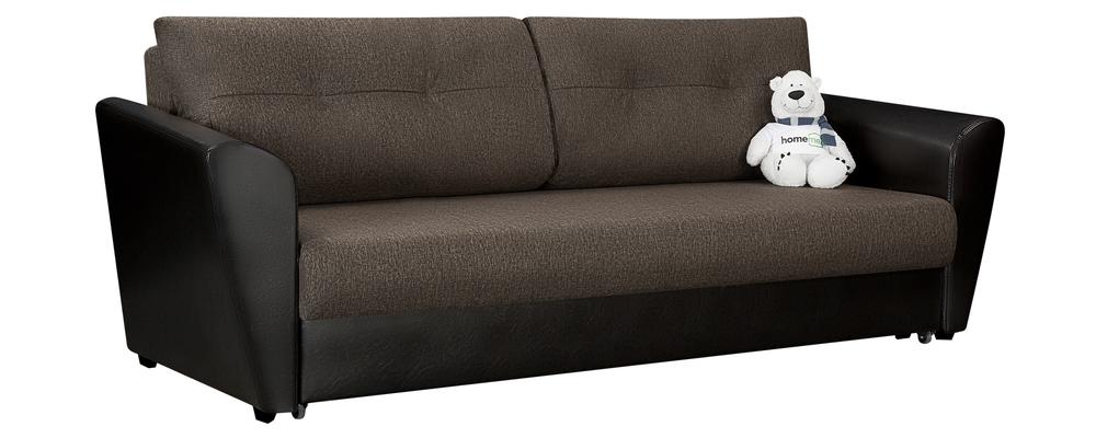 Диван тканевый прямой Амстердам Kraft коричневый/черный (Рогожка + Экокожа)