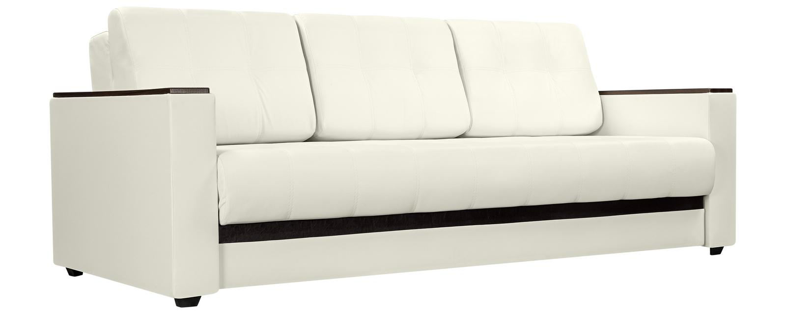 Диван тканевый прямой Атланта Luxe молочный вариант №1 (Экокожа)