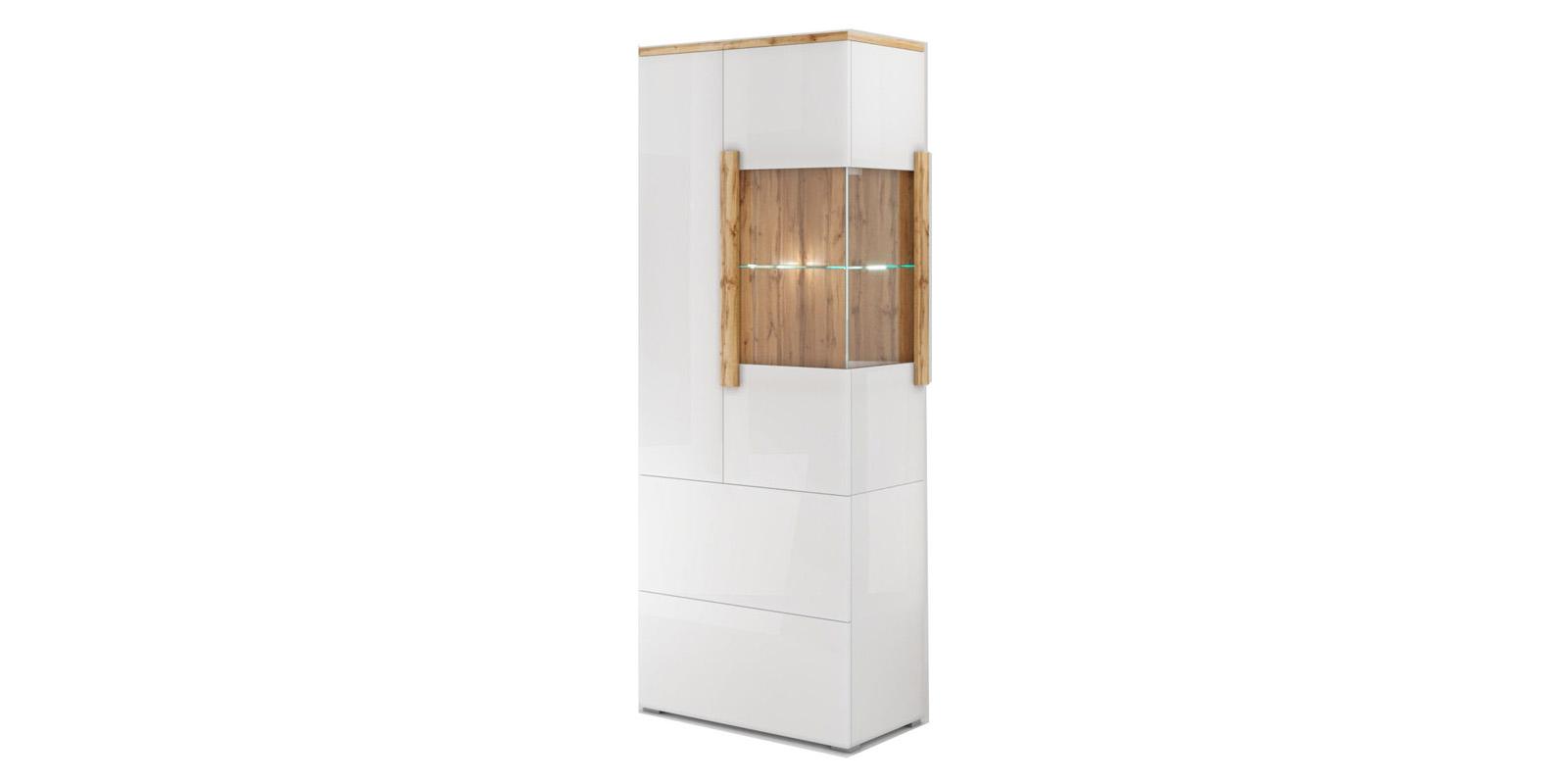 Витрина Сахара Шкаф витрина Сахара вариант №3 стекло справа (дуб ватан/белый лак) САХАРА 1914.М1 фото