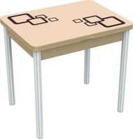 Стол Бари мини квадро/ЛДСП, Стекло/60(120)*80*75/Дуб выбеленный/Стекло мол., рис. Кор./ножки 6