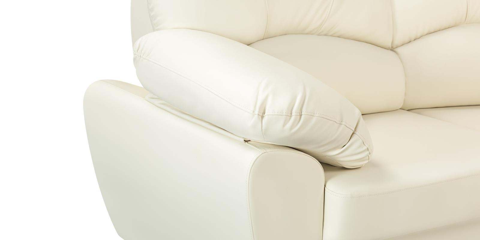 Диван тканевый угловой Эвита Luxe молочный (Экокожа, левый)