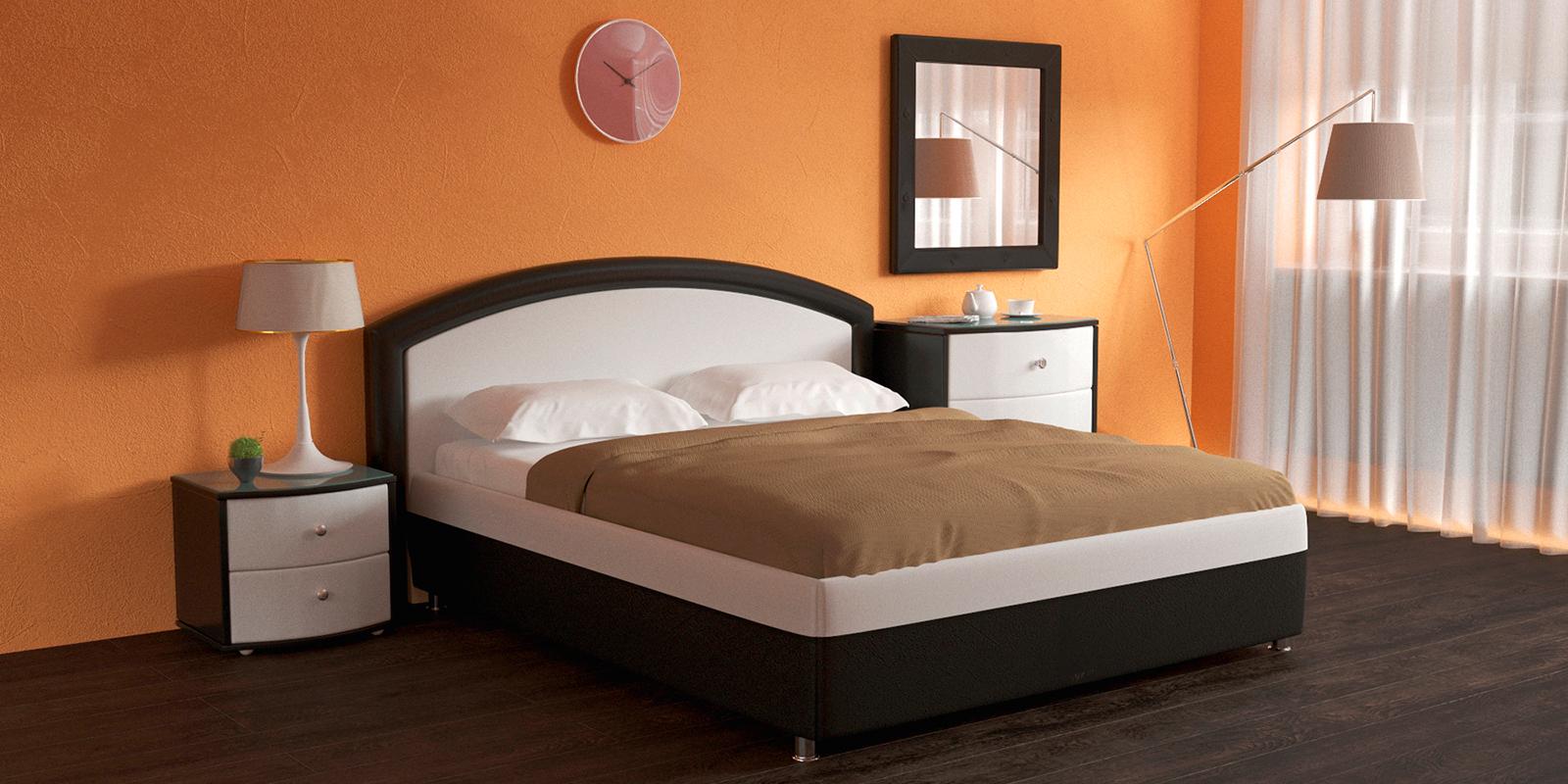 Мягкая кровать 200х160 Малибу вариант №8 с ортопедическим основанием (Белый/Шоколад)