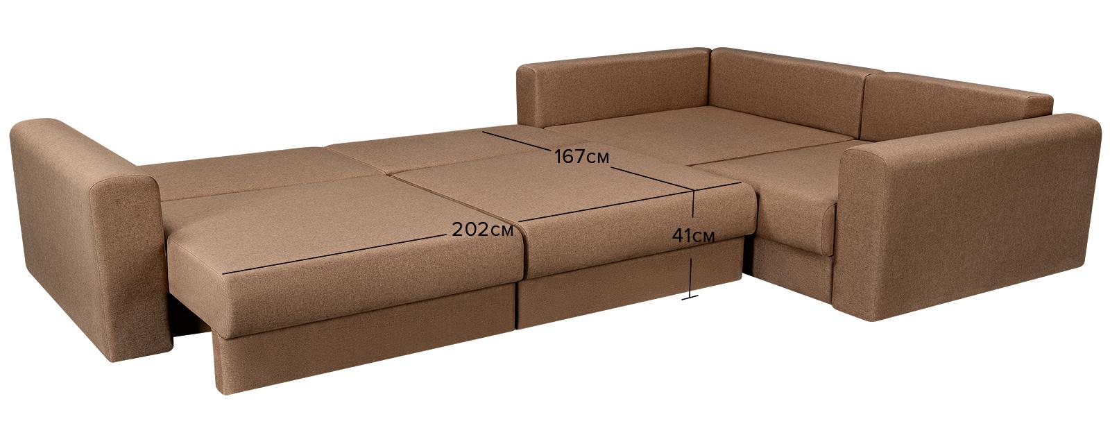 Диван тканевый угловой Медисон Вариант №2 Kiton коричневый (Рогожка)