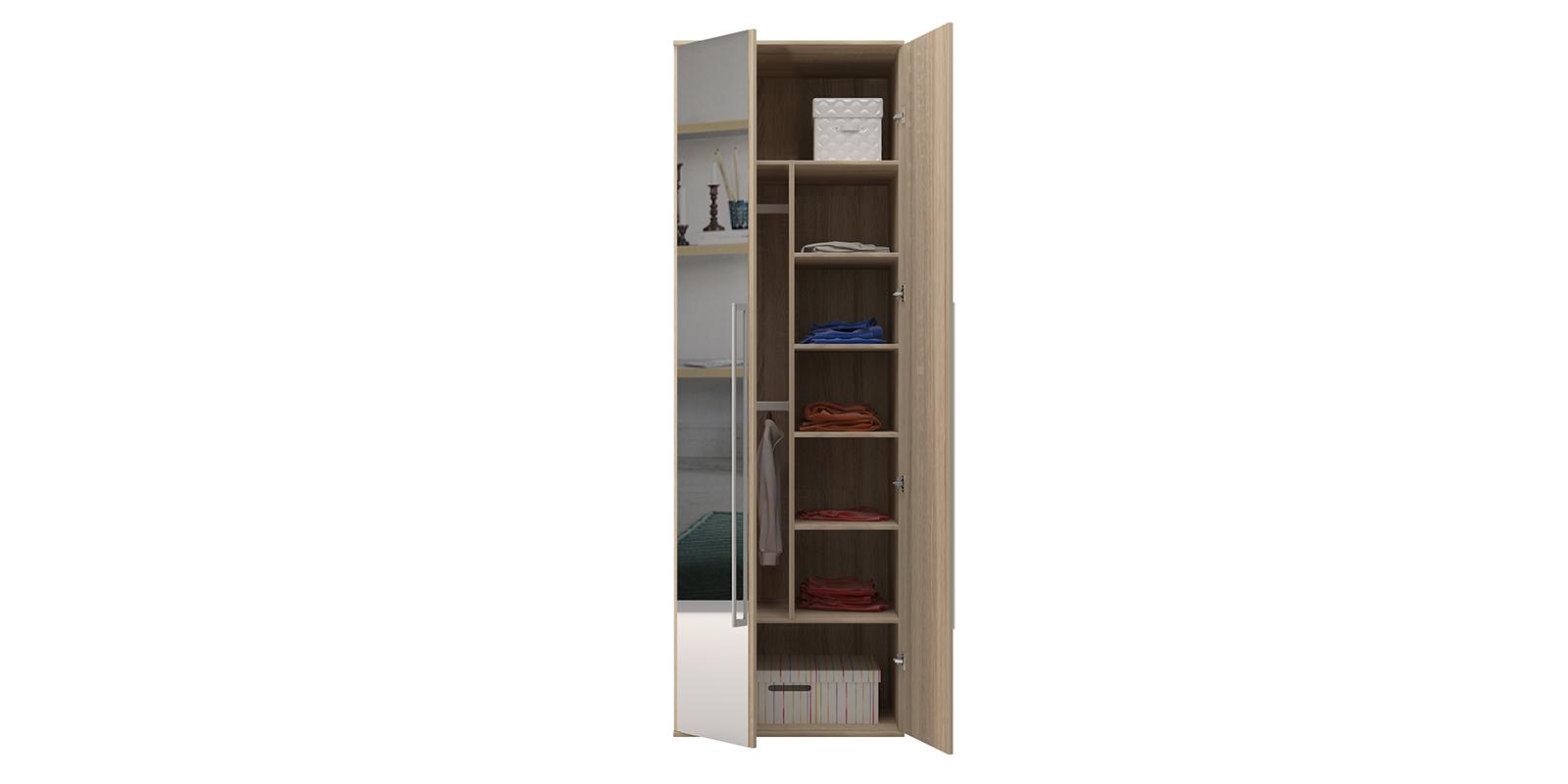 Шкаф распашной двухдверный Бали вариант №2 (дуб сонома/зеркальный) от HomeMe.ru