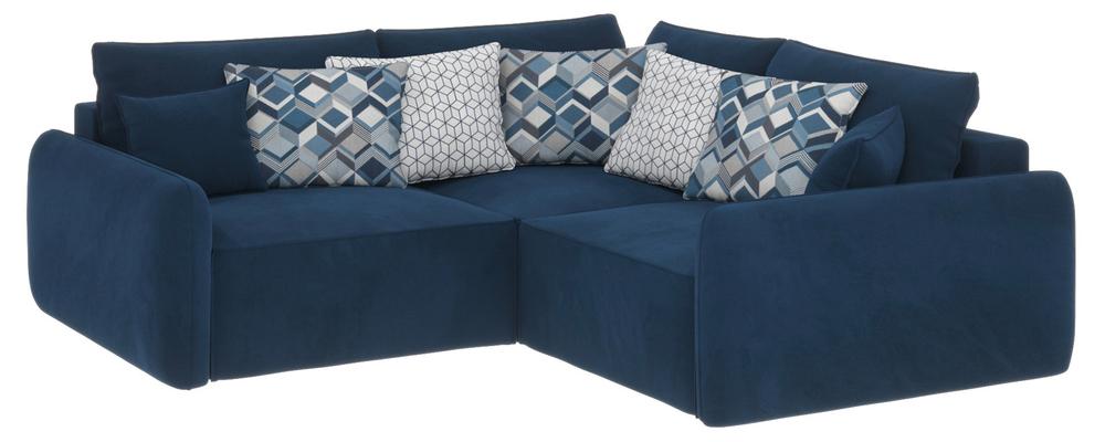 Модульный диван Портленд вариант №6 Soft тёмно-синий (Вел-флок)