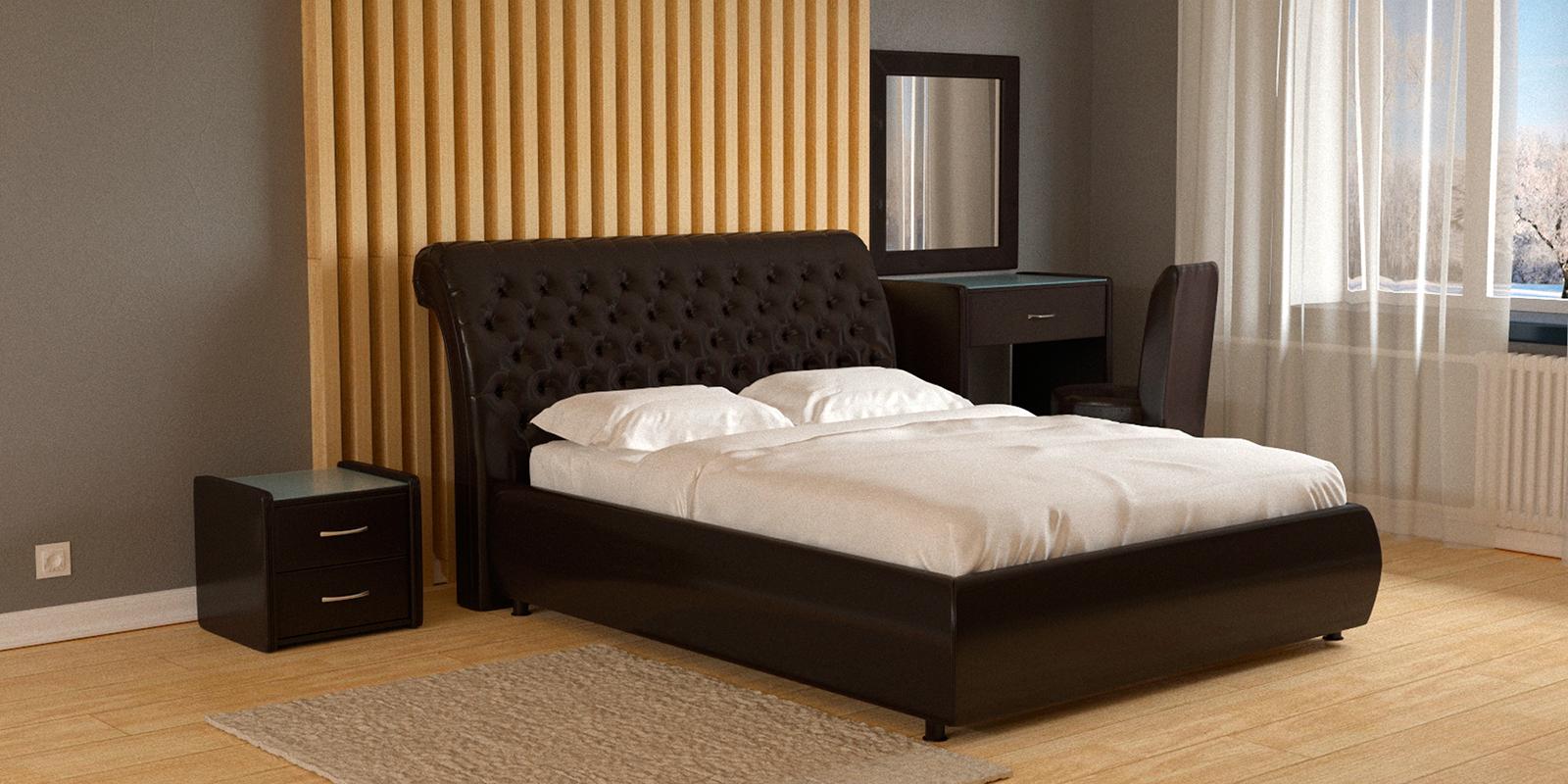Мягкая кровать 200х160 Малибу вариант №6 с подъемным механизмом (Шоколад)