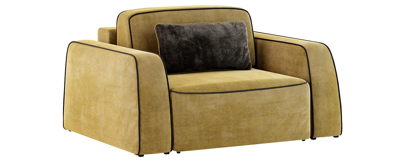 Кресло тканевое Портленд 100 см Velure оливковый/тёмно-коричневый (Велюр)