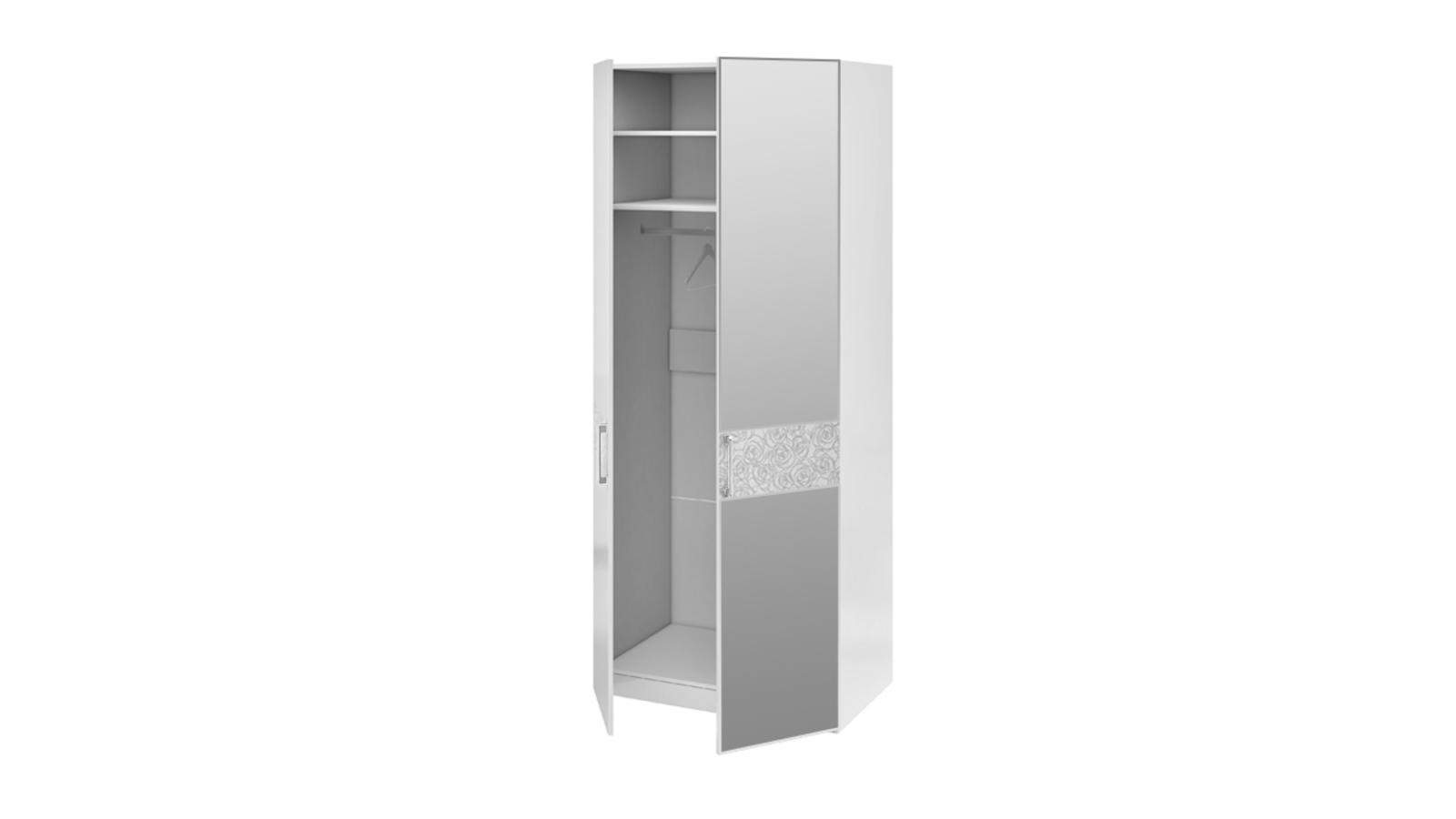 Шкаф распашной двухдверный Давос (белый матовый/зеркало)