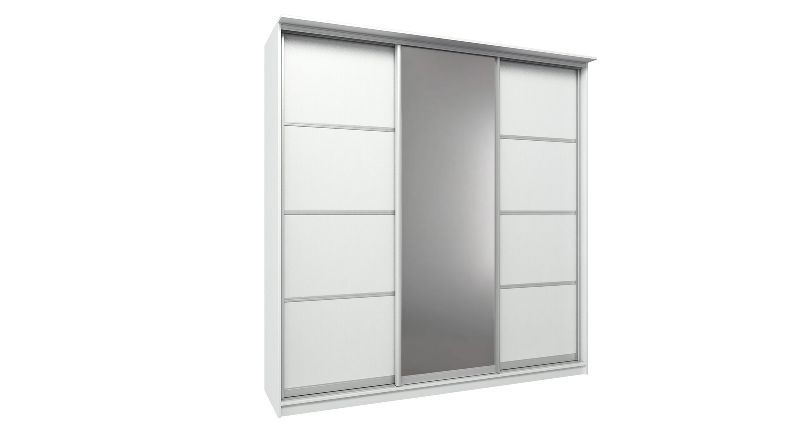 Шкаф-купе трехдверный Манчестер 234 см (белый+зеркало)