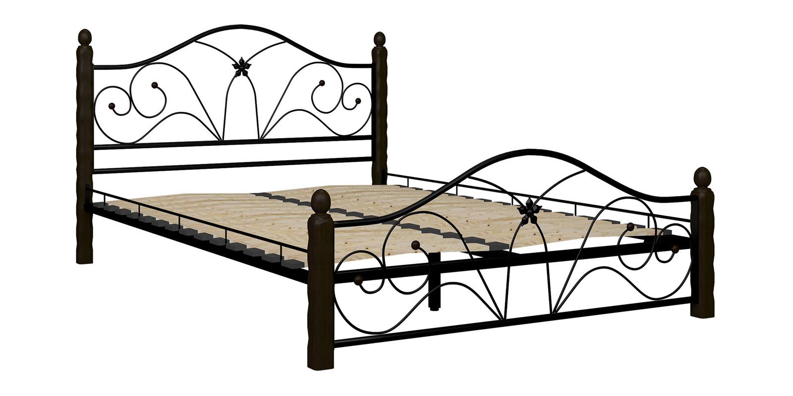 Металлическая кровать 140х200 Селена вариант №1 с ортопедическим основанием (черный/шоколад)