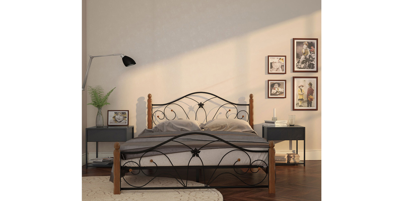 Металлическая кровать 120х200 Селена вариант №1 с ортопедическим основанием (черный/махагон)