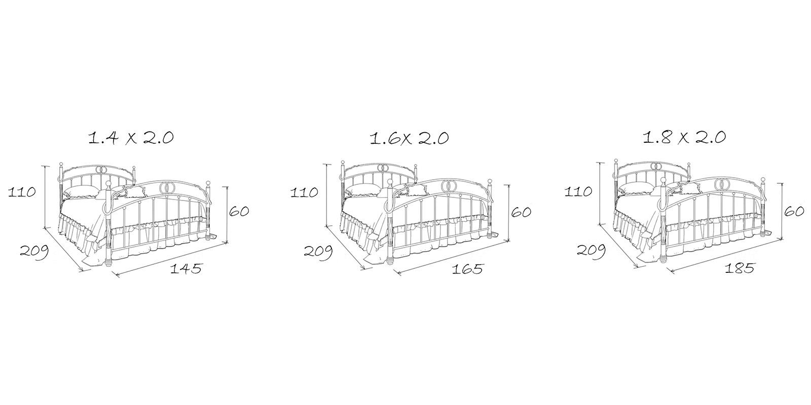Металлическая кровать 140х200 Венеция с ортопедическим основанием (белый с золотом) S005/1-4