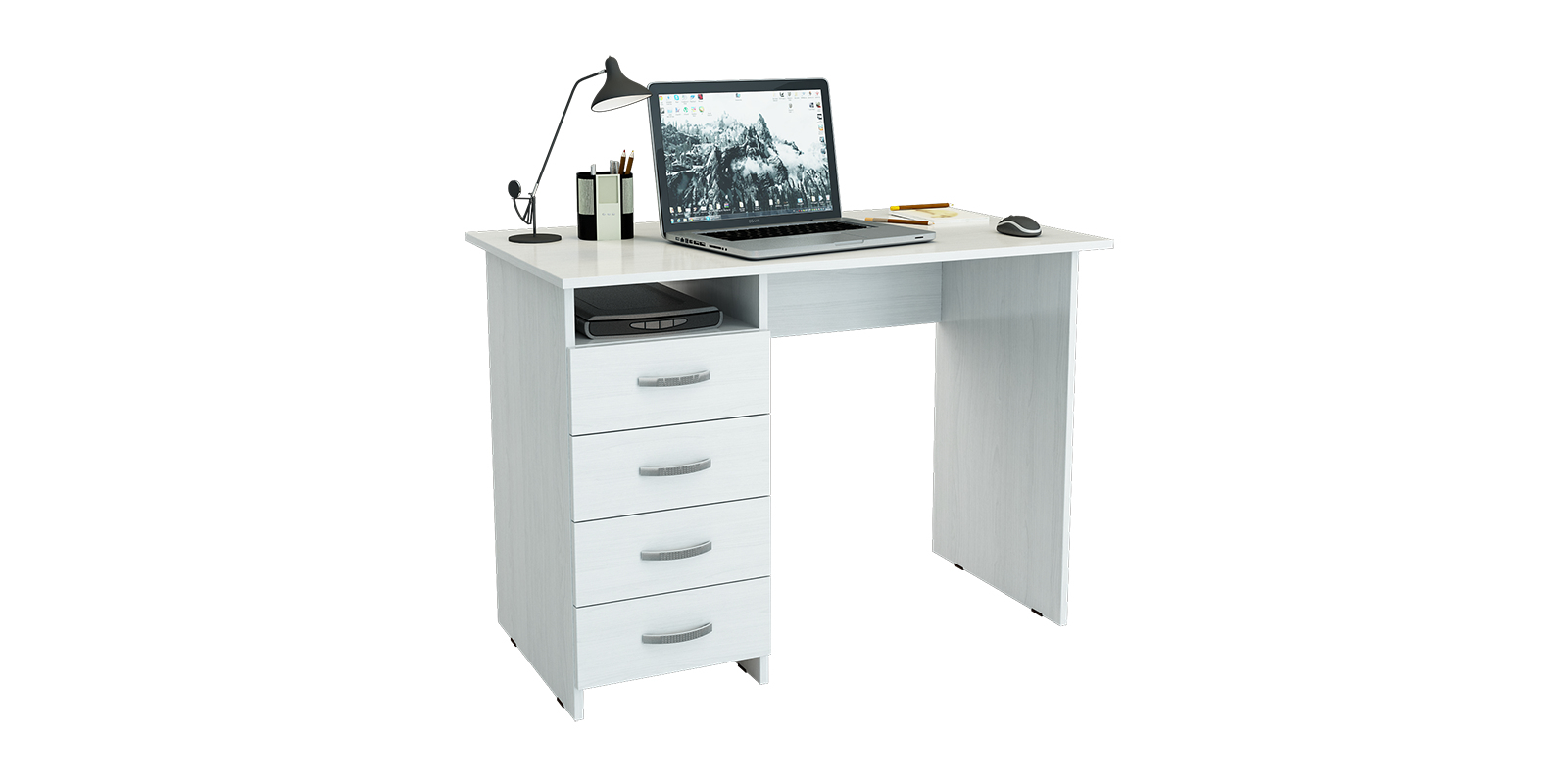 Стол компьютерный Дунай вариант №2 (белый)