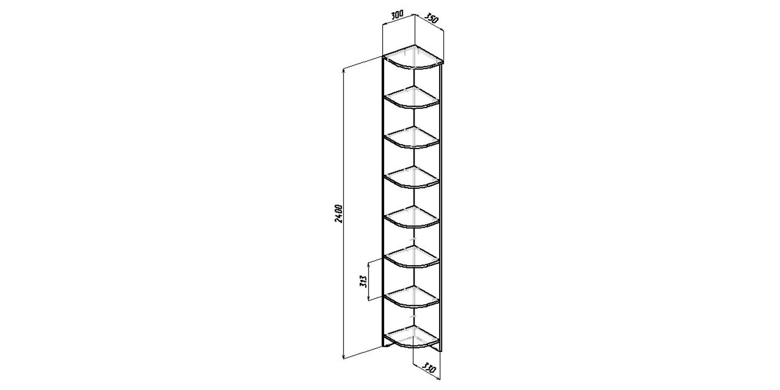 Угловой стеллаж Хельга вариант №2 (венге)