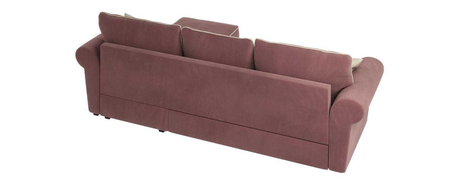 Диван тканевый угловой Милфорд Grace розово-серый (Велюр)