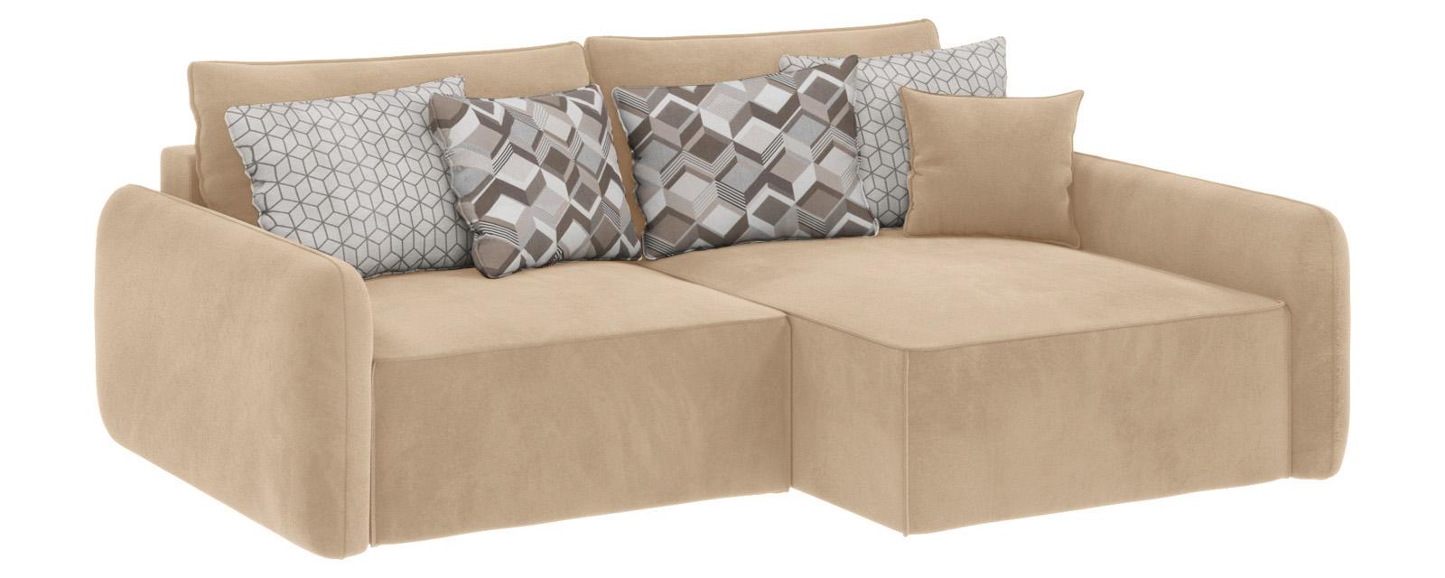 Модульный диван Портленд вариант №4 Soft песочный (Вел-флок, правый)