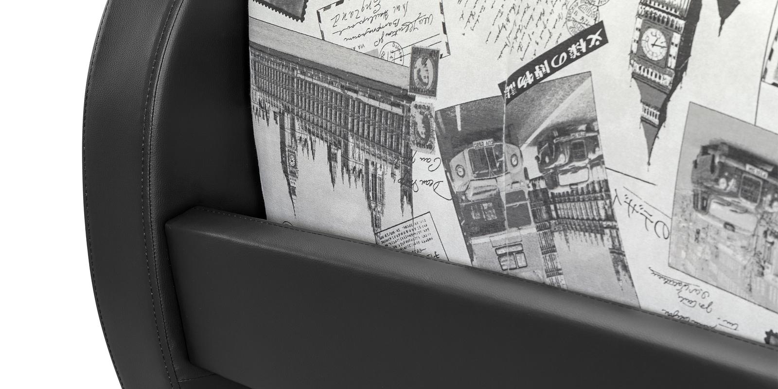 Диван тканевый прямой Барон Gazeta серый (Ткань + Экокожа)