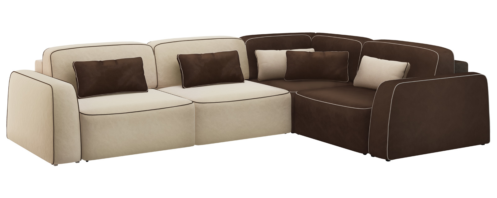 Модульный диван Портленд 350 см Вариант №1 Velure бежевый/темно-коричневый (Велюр)
