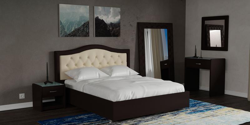 Мягкая кровать 200х160 Малибу вариант №9 с ортопедическим основанием (Бежевый/Шоколад)