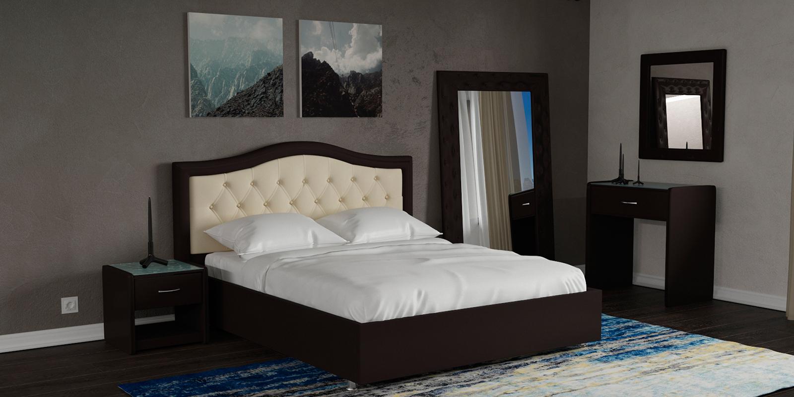 Купить Мягкая кровать 200х160 Малибу вариант №9 с ортопедическим основанием (Бежевый/Шоколад), HomeMe