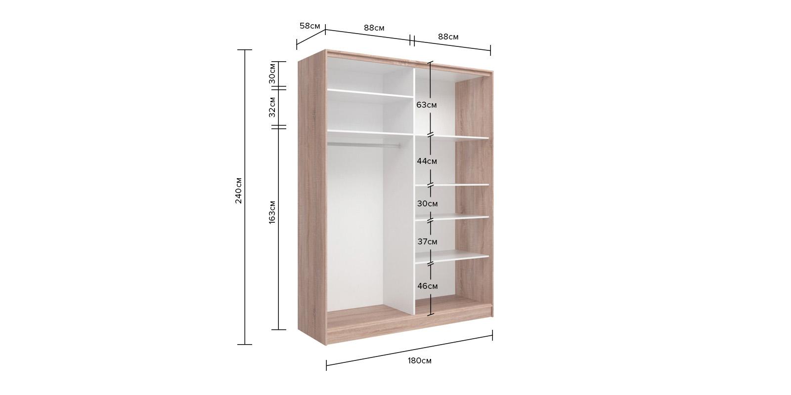 Шкаф-купе двухдверный Манхеттен 180 см (сонома/глухой)