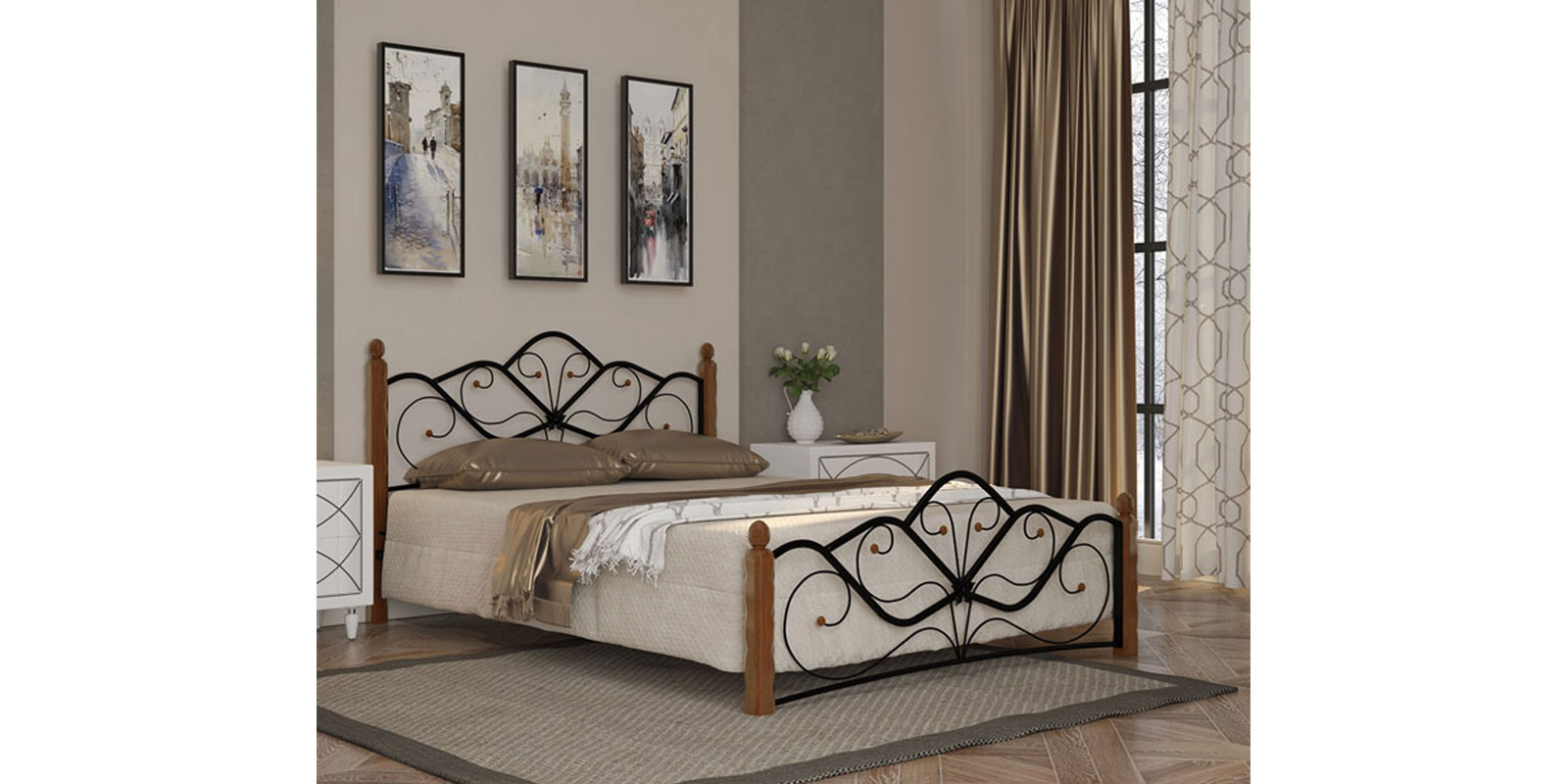 Металлическая кровать 140х200 Венера вариант №1 с ортопедическим основанием (черный/махагон)
