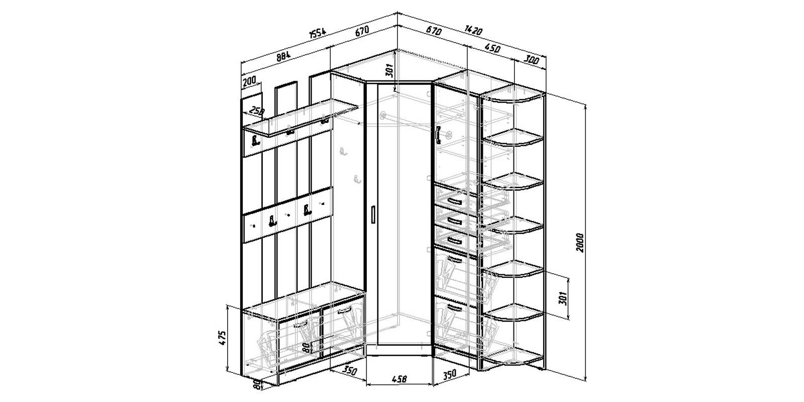 Модульная система Хельга вариант №9 (белый)