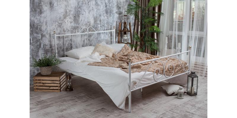 Металлическая кровать 140х200 Фемида с ортопедическим основанием (белый с золотом) S010/2-4