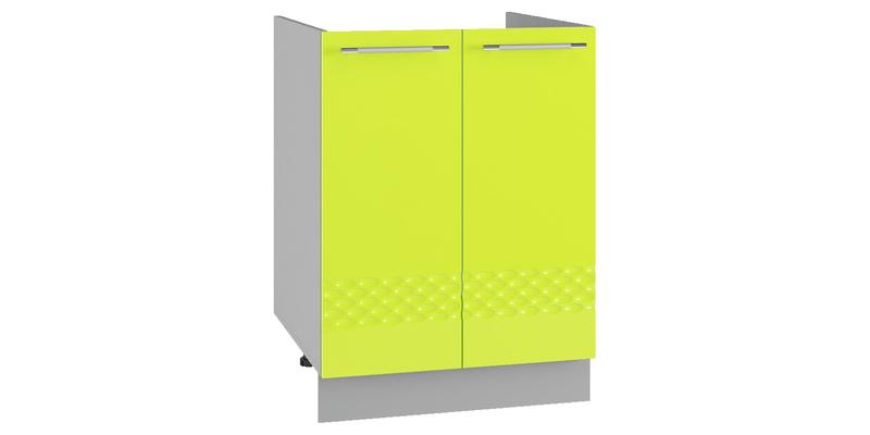 Кухонный напольный шкаф Тиара 60 см под мойку (серый/лайм глянец)