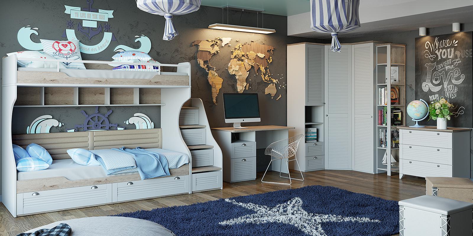 Модульная детская Мерида вариант №2 (дуб бежевый/белый) от HomeMe.ru