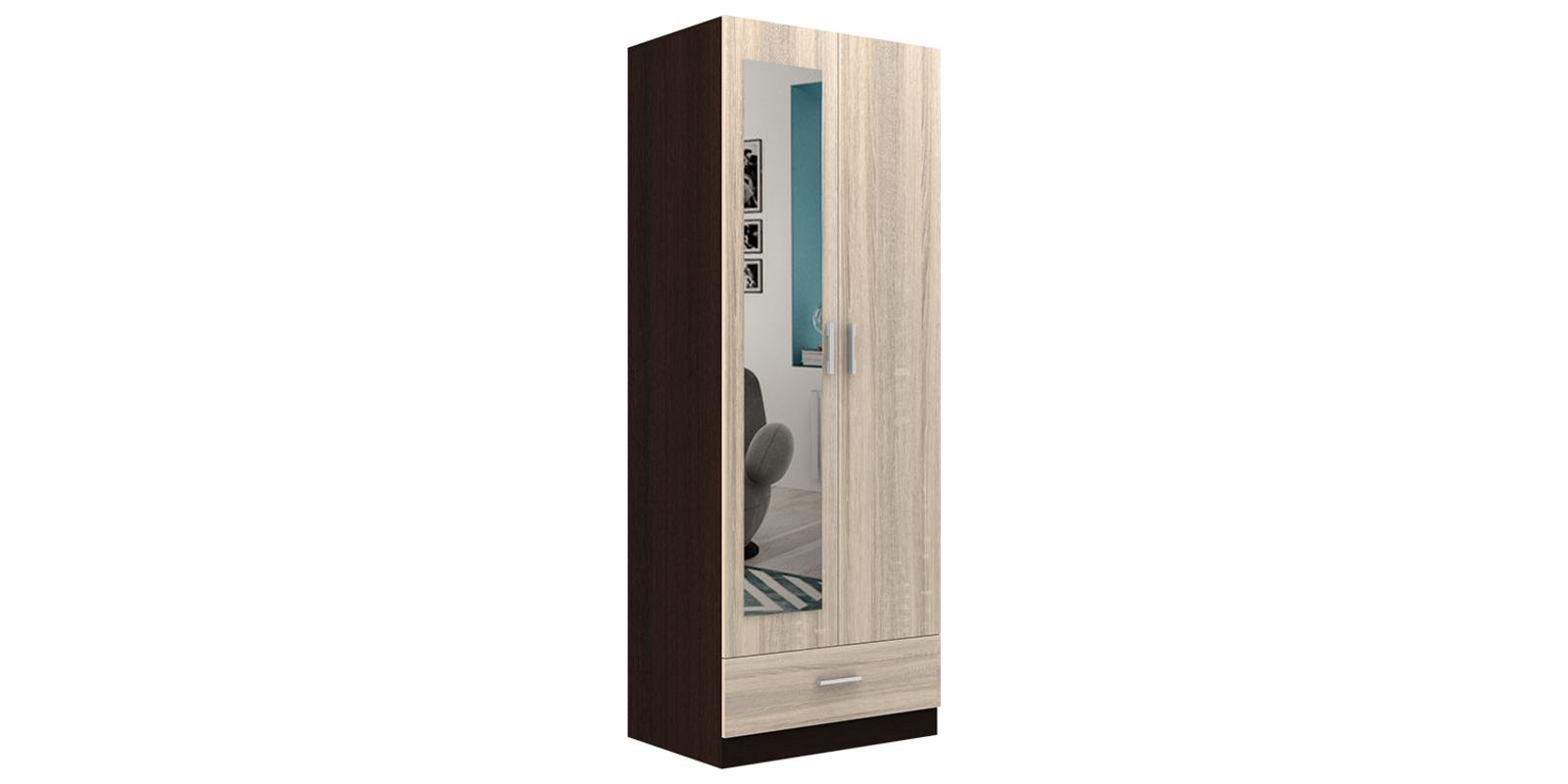 Шкаф распашной двухдверный Мельбурн (дуб феррара/дуб сонома+зеркало)