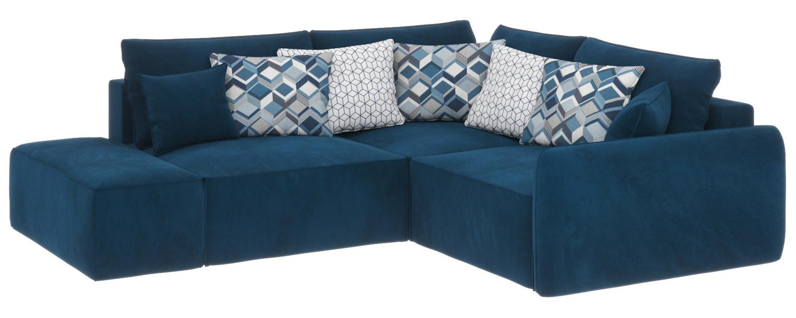 Купить Модульный диван Портленд вариант №1 Premier светло-синий (Микровелюр, правый), HomeMe, Светло-синий