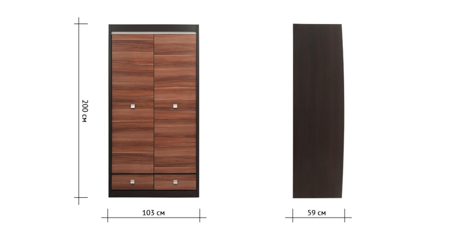 Шкаф распашной двухдверный Корсика (слива валлис/дуб феррара) от HomeMe.ru